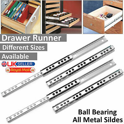 Pair Drawer Runners 17mm, 27mm Groove Ball Bearing All Metal Slides Soft Close