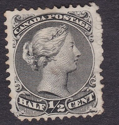 Dominion of Canada Scott # 21, ½¢ Black Queen Victoria MH/NG/VF