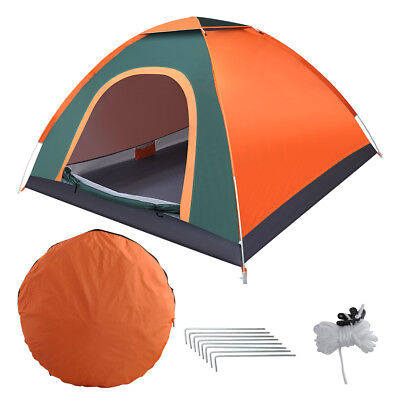 2-3 Man Automatic Instant Double Layer Pop Up Camping Tent Waterproof Outdoor UK