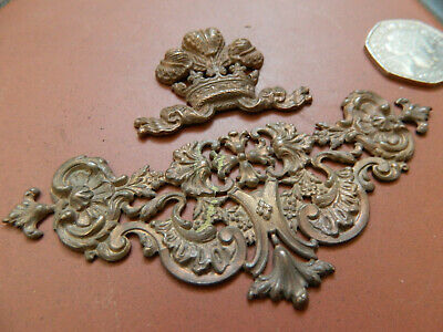 Original Antique Vintage French Victorian Brass Ornate Door Furniture Mount