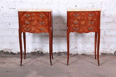 Antique French Louis XV Style Inlaid Marquetry Marble Top Nightstands, Pair