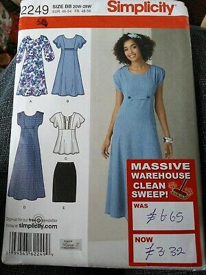 9fb18013afdd2 FF Simplicity 2249 Sewing Pattern Size 20 - 28 Ladies Dress Tunic Skirt