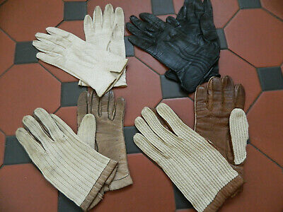 Original Vintage Retro 1960s 4 X Pair Ladies Driving Leather Gloves JOBLOT