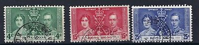 Hong Kong 1937 Coronation Fine Used Set Of 3 See Scans.