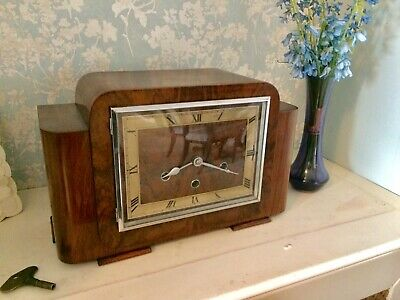 Stunning Pure art deco Haller Walnut Dual Chime Westminster Whittington  clock