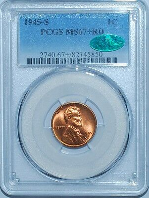 1945 S PCGS MS67+RD CAC Red Lincoln Cent Tied For Finest Registry