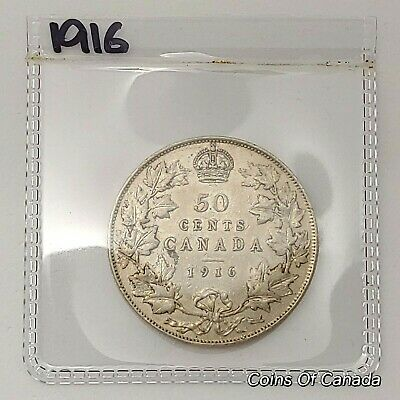 1916 Canada Silver 50 Cents Coin - Sealed In Acid-Free Package #coinsofcanada