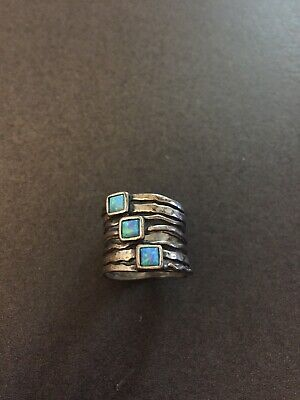 Vintage Israel Sterling Silver Three Opal Wide Band Ring Size: 7.5