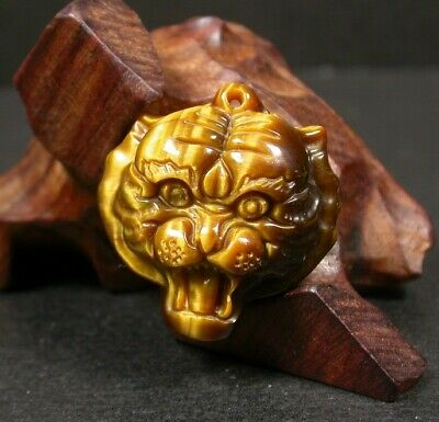 CHINESE Tiger CAT Eye JADE PENDANT Tiger Head Amulet 100199