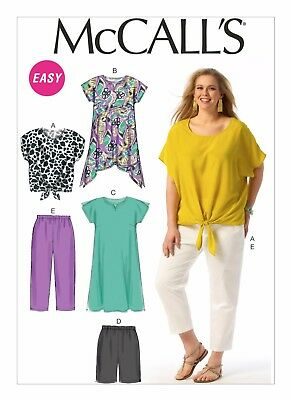 McCall's Sewing Pattern 6971 Womens 18W-24W Easy Tops Tunic Dress Shorts Pants