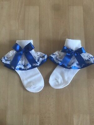 Baby Girls White Frilly Socks With Blue Ribbon Bow Sock Size 6-8.5