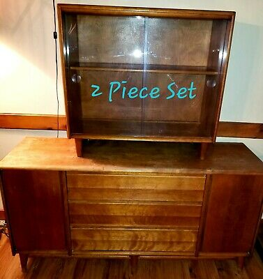 Antique Mid Century Maple Wood Heywood Wakefield 2 PC Hutch Buffet Credenza Set