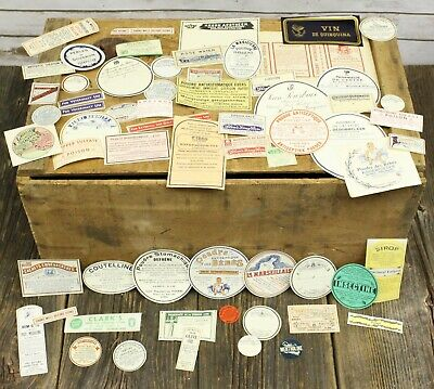 Lot Of 62 Antique Vintage Pharmacy Medicinal Labels USA France Russia Belgium