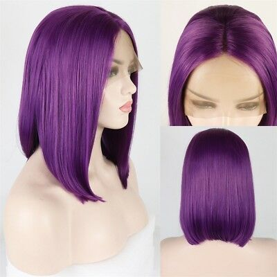 Lolita Purple Fashion Lace Front Wig Middle Part Short Straight 14 inches