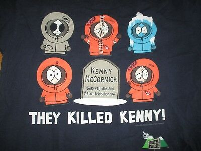 """1998 SOUTH PARK - Kenny McCormick """"THEY KILLED KENNY"""" (LG) T-Shirt"""