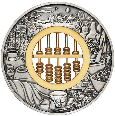 In Stock 2019 ABACUS 2oz .9999 SILVER $2 ANTIQUED COIN