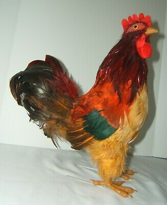 """Realistic Rooster Chicken Real Feather Prop Farm Animal Decor - w/ Tag  14"""" Tall"""