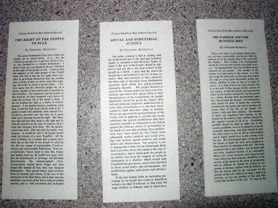 Theodore Roosevelt Edison Blue Amberol Phonograph Record Slips