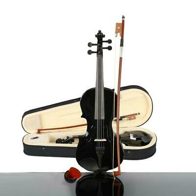 1/4 Size Beginners Acoustic Violin Set with Case Bow Rosin Bridge Black