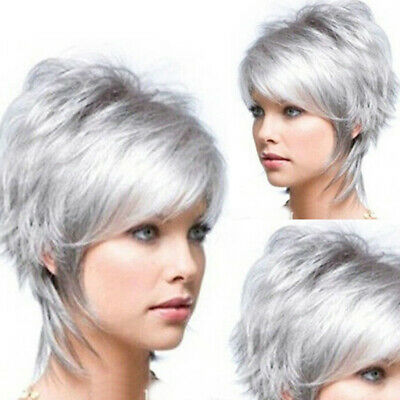Women Short Silver Gray Hair Heat Resistant Synthetic Party Cosplay Full Wig