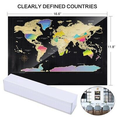 Deluxe Travel Edition Scratch Off World Map Poster Personalized Journal Log SU