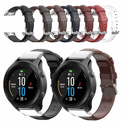 Real Leather Watch Strap Wrist Band For Garmin Forerunner 945/935 Fenix 5/5 Plus