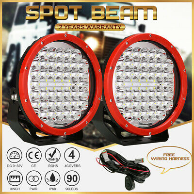 OSRAM NEW DESIGN 9INCH 2PCS LED Driving Spot Lights Round RED Offroad Truck Jeep