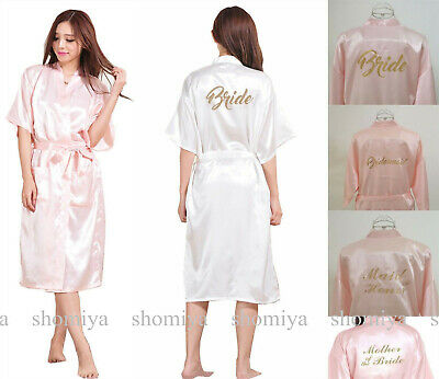 White/Pink Long Personalized Wedding Robe Bridesmaid Bride Party Dressing Gown