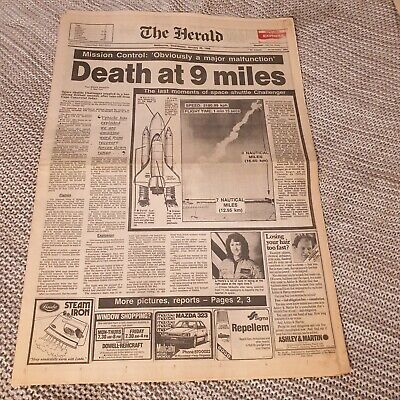 Death at 9 Miles - Challenger -  Newspaper Cover - Jan 29 1986