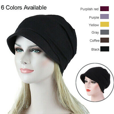 Muslim Women Slouchy Beanie Hat Cotton Cancer Chemo Elastic Head Scarf 6 Colors