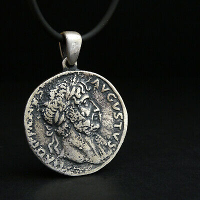Mens Coin Pendant Augustus Ancient Roman Coin King Old Necklace 925K Replica