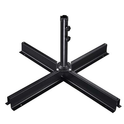 Patio Umbrella Base Cantilever Stand Heavy Duty Metal Foldable Large Cross Frame