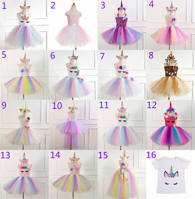 Kids Flower Girls Party Unicorn Tutu Tulle Fancy Dress Costume Dancing Outfit