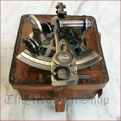 Marine Collectible Navigational Brass Maritime Sextant Astrolabe W/ Leather Box