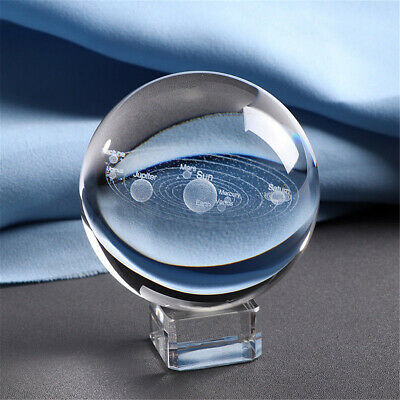 Clear 3D Glass Crystal Ball Healing Sphere Photography  Props Lensball Decor