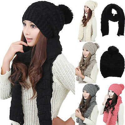 Women Winter Skull Knit Crochet Beanie Scarves Hat Set Girl Fur Pom Ball Ski Cap