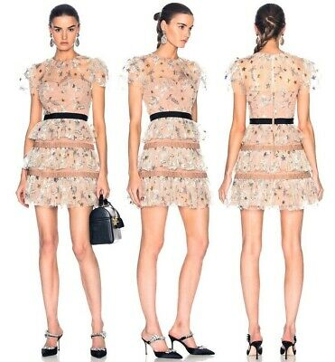 Gorgeous Blush Pink Floral Self Embroidered Ruffle Short Portrait Dress 6 8 10