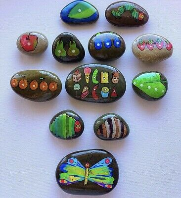 The Very Hungry Caterpillar Story Stones Sack Hand Painted Pebbles Gift