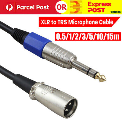 "Balanced Male XLR to TRS 1/4"" 6.35mm Microphone Stereo Jack Cable Lead AU"