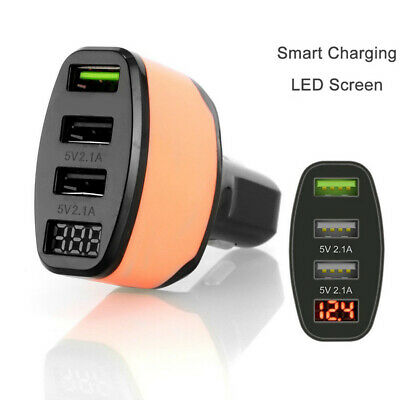 4.2A QC 3.0 Quick Charge 3 Ports USB LED Display Car Charger Adapter New