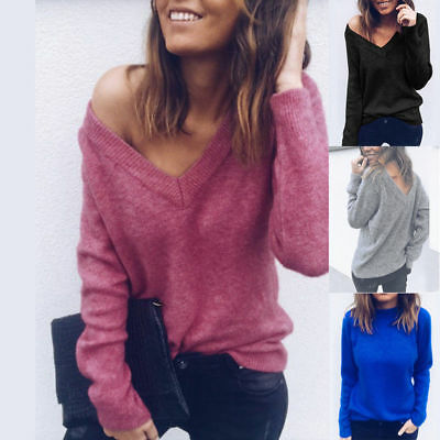 Women V Neck Winter Knitted Sweater Long Sleeve Jumper Pullover Ladies Loose Top