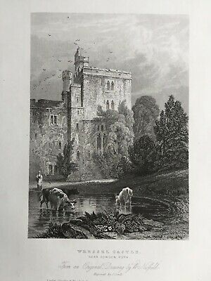 1836 Antique Print; Wrestle Castle, near Howden, Yorkshire after W. Nesfield