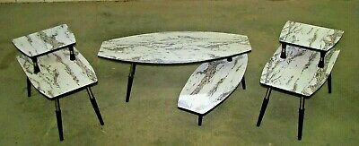 Mid Century Modern FAUX MARBLE Surfboard Coffee Hide Away Table + 2 End Tables