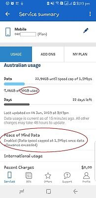 30 GB plus Unlimited Peace of Mind Data on Telstra Sim Card