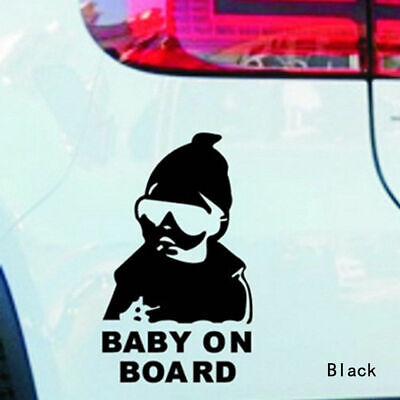 BLACK LITTLE DUDE ON BOARD Baby Child Window Bumper Car Sign Decal Sticker
