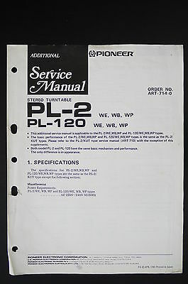 PIONEER PL-2 PL-120 Original Turntable Additional Service-Manual/Diagram o117