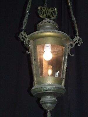 Antique French bronze and brass chandelier lantern 19th Century