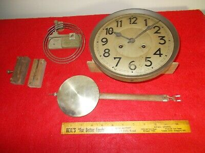 JUNGHANS 1919 45cm 8 DAY T&S MOVEMENT, FACE, GONG, PENDULUM, BRACKETS, BARN FIND