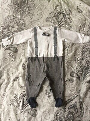 Baby Boy Smart Suit All In One Next 3-6 Months Wedding Christening Babygrow