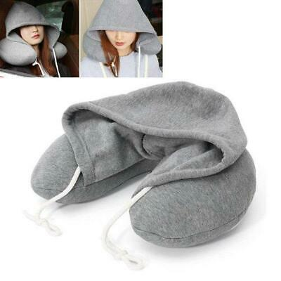 Adults Hooded Travel Neck Pillow, Hoody Flight Cushion Support,Soft Comfortable
